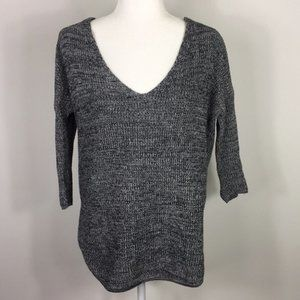 Express Black/White Knit 3/4 Length Sleeve Sweater